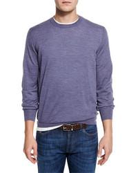 Jersey con cuello circular violeta claro de Brunello Cucinelli