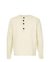 Jersey con cuello henley blanco de Bergfabel
