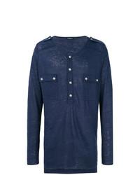 Jersey con cuello henley con adornos azul marino de Balmain