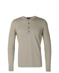 Jersey con cuello henley de punto gris de Dell'oglio