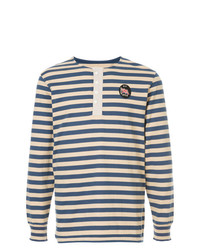Jersey con cuello henley de rayas horizontales azul marino de Kent & Curwen