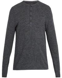 Jersey con cuello henley en gris oscuro