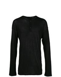 Jersey con cuello henley negro de Isabel Benenato