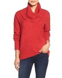 Jersey con cuello vuelto holgado rojo