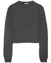 Jersey corto de punto en gris oscuro de Miu Miu