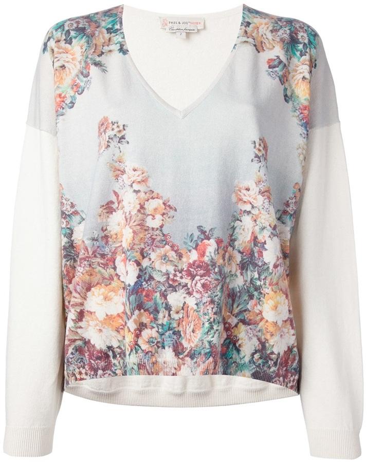 Jersey de cachemir con print de flores blanco de Paul & Joe Sister