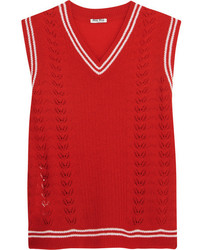Jersey de cachemir de punto rojo de Miu Miu