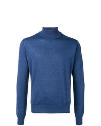 Jersey de cuello alto azul de Corneliani