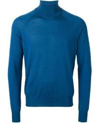 Jersey de cuello alto azul de Jil Sander