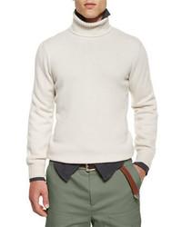 Jersey de cuello alto blanco de Brunello Cucinelli