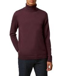 Jersey de cuello alto burdeos de Topman