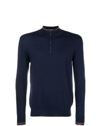 Jersey de cuello alto con cremallera azul marino de Etro