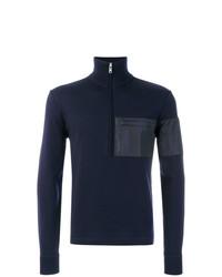 Jersey de cuello alto con cremallera azul marino de Prada
