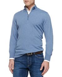 Jersey de cuello alto con cremallera azul de Brunello Cucinelli