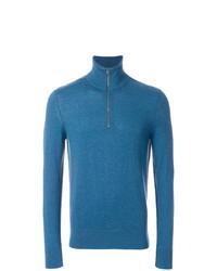 Jersey de cuello alto con cremallera azul de Burberry