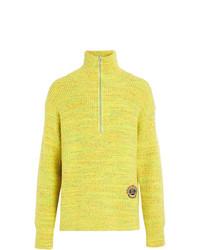 Jersey de cuello alto con cremallera en amarillo verdoso de Burberry