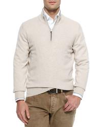Jersey de cuello alto con cremallera en beige de Brunello Cucinelli