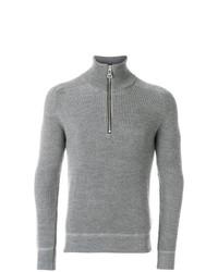 Jersey de cuello alto con cremallera gris de AMI Alexandre Mattiussi