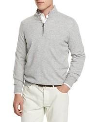 Jersey de cuello alto con cremallera gris de Brunello Cucinelli