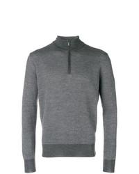 Jersey de cuello alto con cremallera gris de Canali
