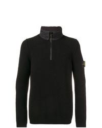 Jersey de cuello alto con cremallera negro de Stone Island