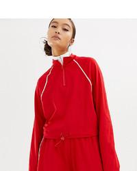 Jersey de cuello alto con cremallera rojo