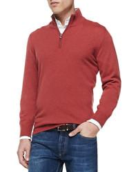 Jersey de cuello alto con cremallera rojo de Brunello Cucinelli