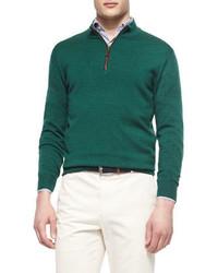 Jersey de cuello alto con cremallera verde de Peter Millar