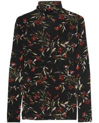 Jersey de cuello alto con print de flores negro de Balenciaga