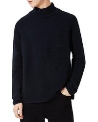 Jersey de cuello alto con relieve azul marino de Topman