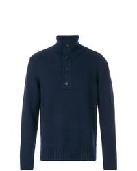 Jersey de cuello alto de botones azul marino de Closed