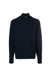 Jersey de cuello alto de botones azul marino de CP Company