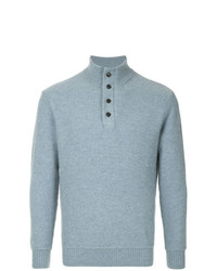 Jersey de cuello alto de botones celeste de Gieves & Hawkes