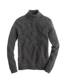 Jersey de cuello alto de botones en gris oscuro de J.Crew