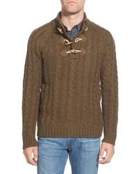Jersey de cuello alto de botones marrón de Schott NYC