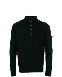 Jersey de cuello alto de botones negro de Stone Island