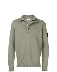 Jersey de cuello alto de botones verde oliva de Stone Island
