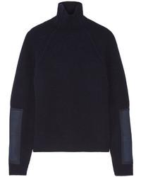 Jersey de cuello alto de lana azul marino de Victoria Beckham