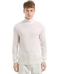 Jersey de cuello alto de lana de punto blanco