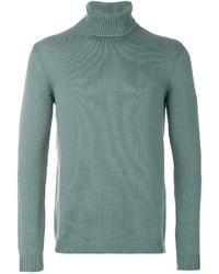 Jersey de cuello alto de lana de punto en turquesa de Roberto Collina