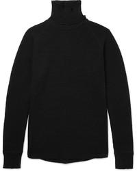 Jersey de cuello alto de lana de punto negro de Sacai