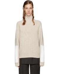 Jersey de cuello alto de lana en beige de Victoria Beckham