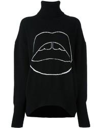 Jersey de cuello alto de lana estampado negro