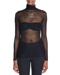 Jersey de cuello alto de malla negro