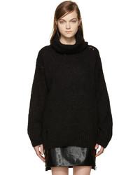 Jersey de cuello alto de mohair negro de Saint Laurent
