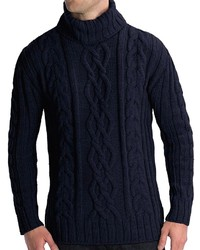 Jersey de cuello alto de punto azul marino
