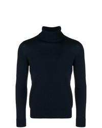 Jersey de cuello alto de punto azul marino de Drumohr