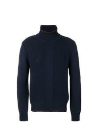 Jersey de cuello alto de punto azul marino de Salvatore Ferragamo