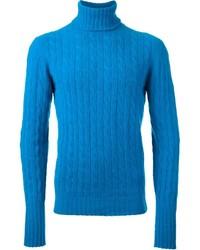 Jersey de cuello alto de punto azul