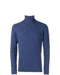 Jersey de cuello alto de punto azul de Borrelli